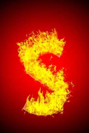 s shape: Fire letter Stock Photo