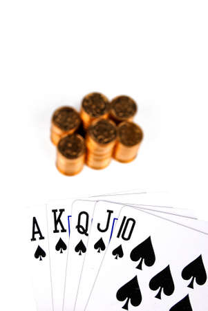 Poker with stack of coin Stock Photo - 13993111