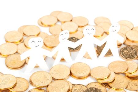 Paper man and coin photo