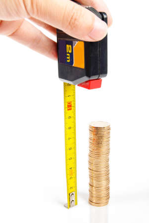 Stack coin with ruler photo