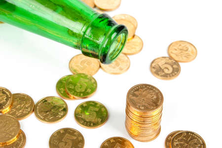 Wine bottle and coin photo