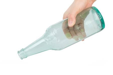 Beer bottle in hand photo