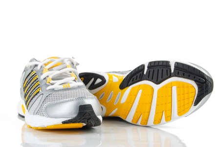 cross walk: Sport shoe Stock Photo