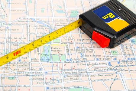 Ruler on map Stock Photo - 14098785