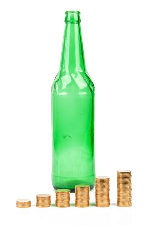 Coin with beer bottle photo