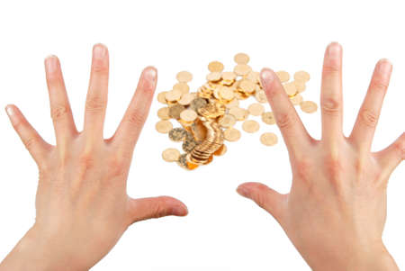 Greedy hand grabbing gold coin photo