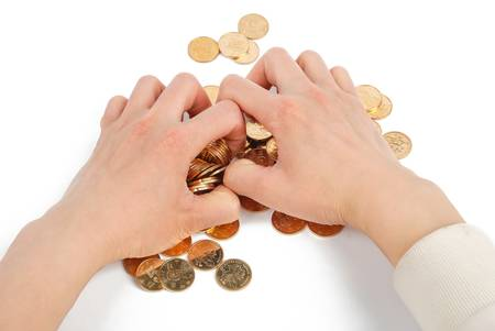 stingy: Greedy hand grabbing gold coin Stock Photo