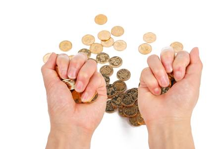 Greedy hand grabbing gold coin Stock Photo - 14153302