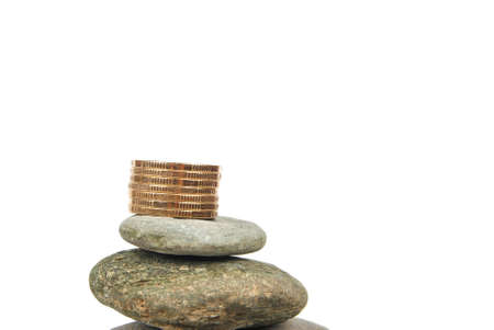 Coin on stone photo