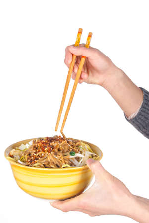 A bowl of noodles photo
