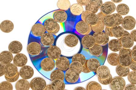 Coin with DVD Stock Photo - 14153815
