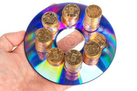 booty pirate: Coin with DVD Stock Photo