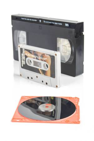 videocassette: Disk and tape Stock Photo
