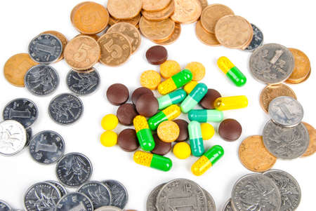 Medicine and coin Stock Photo - 14314399