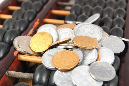 Abacus and coins photo