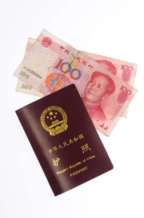 Chinese Passport and Chinese Yuan photo