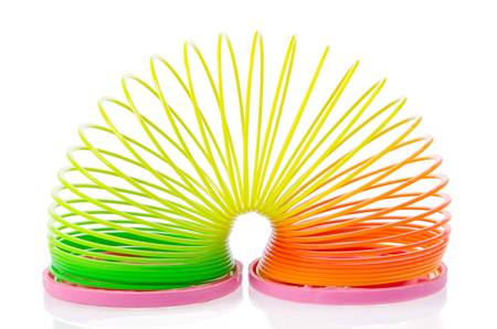 Plastic spring toy isolated on white photo