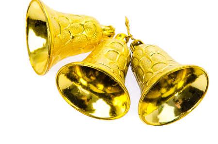 Shiny golden Christmas bells