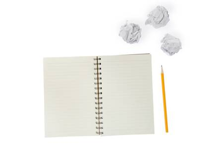 Crumpled paper ball and notepad Stock Photo - 17351215
