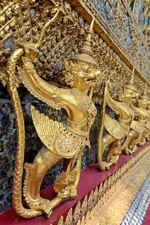 pra: Garudas is around chapel of Wat Pra Kaeo Stock Photo