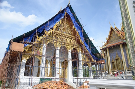the Buddhism temple in renovation, bangkok Thailand photo