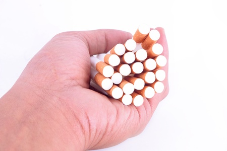 the many Cigarette on a hand man photo