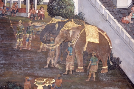 thai mural in wat pra kaew   Its famous place for travel photo