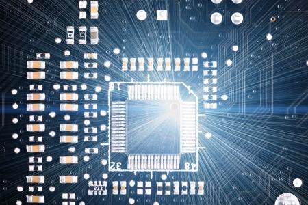 Close-up of electronic circuit board  Macro photo