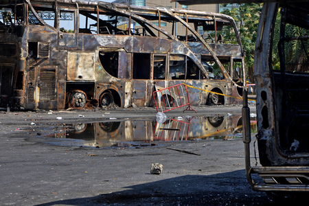 burnt out: a burn car in a town from thailand