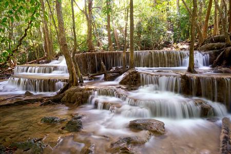 khamin: Huai Mae Khamin Waterfall in Kanchanaburi, Thailand Stock Photo