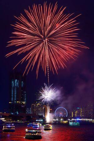 chao phraya: bangkok firework at Chao Phraya river 2015