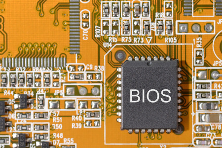 close up bios (basic in put oup put system) on circuit