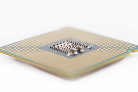close up cpu processor of computer on white blackground