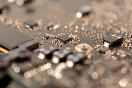 mainboard: close up ic surface mount device on mainboard circuit