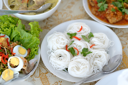 popular soup: set of thai food on the table