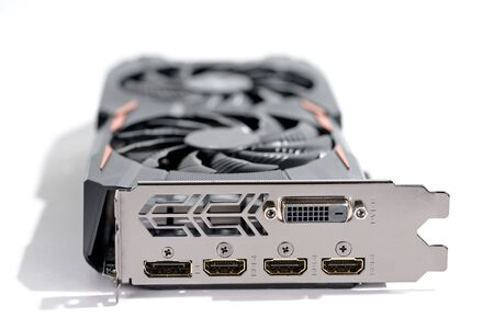 vga: vga or graphic card of computer pc on white black ground