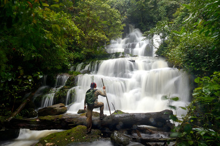 waterfall in forest in thailand (Phuhinrongkla National Park)