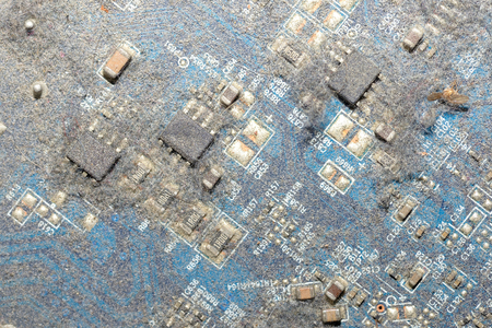 close up dirty print circuit board many dust and more Stock Photo