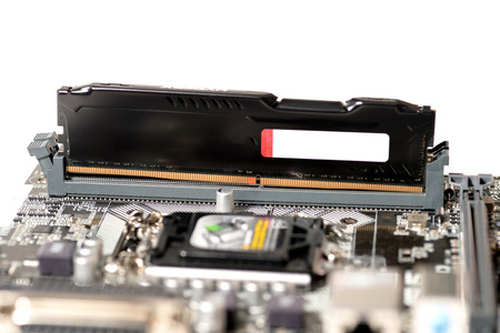 ddr3: put memory ddr4 type to slot on mainboard computer Stock Photo