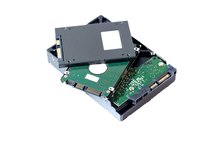 harddisk and ssd sata port on white blackground Stock Photo