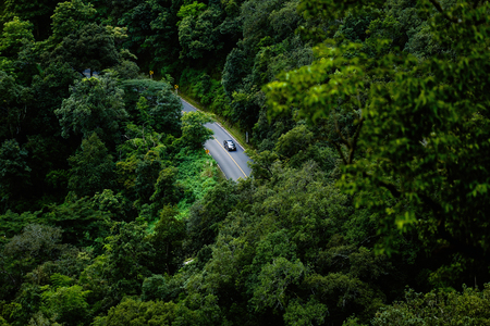 road in mountain and green forrest hight view Stock Photo