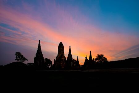 Chaiwatthanaram temple at night in Ayutthaya province thailand Фото со стока