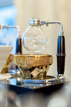 Mug and Kettle coffee set on the table Zdjęcie Seryjne