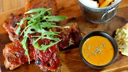 ferment: Ribs pork with BBQ Sauce Stock Photo