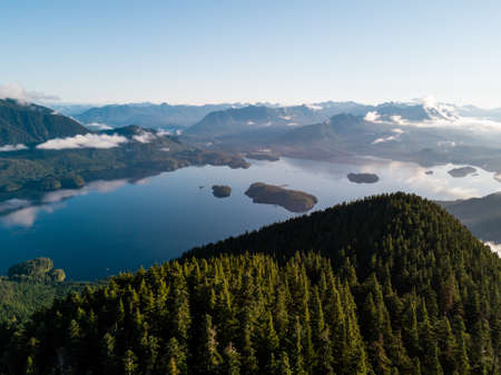 Bay with forest, islands and panoramic view 写真素材