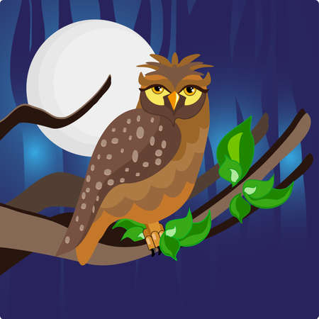 owl perched on a twig with a dark blue night the moon in the background.