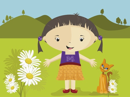 happy girl with flowers and kitty Stock Vector - 9723167
