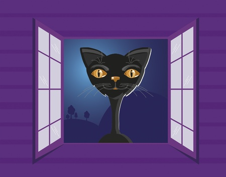 black cat in the window Stock Vector - 9723174
