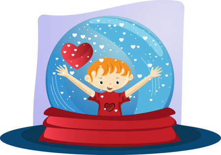 globe with boy and heart