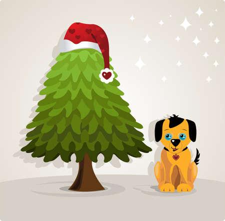 犬とクリスマス ツリー 写真素材 - 9723172